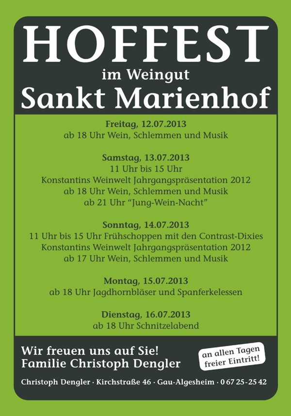 Flyer Hoffest Programm 2013
